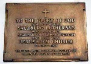 Plaque on the Jerusalem Lutheran Church at Ebenezer