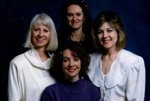The Ladies of the Book Club c. 1987. Left, Linda Nicholas, Back, Mary Malone, Bottom, Nancy Bjerring and Right, me