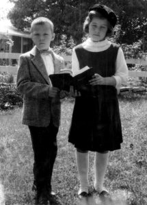 My brother Peter and me, looking pious.  Peter was the picky eater; I, the omnivore.