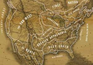 A map depicting the various American Nations identified by Colin Woodward in his book, North American Nations.