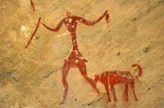 Cave painting of girl with dog