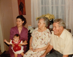 Me with my daughter Sabrina and my grandparents at a long ago Thanksgiving