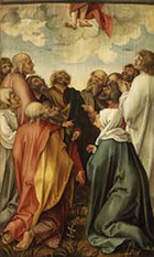 Christ's feet dangled in a number of paintings. This depicts the Ascension of Christ.